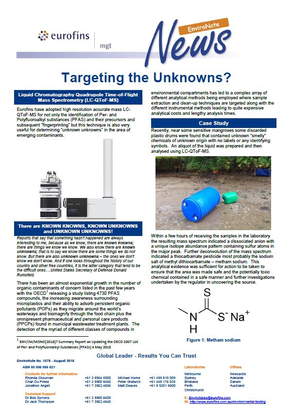 EnviroNote 1078 - Targeting the Unknowns? - Eurofins Scientific