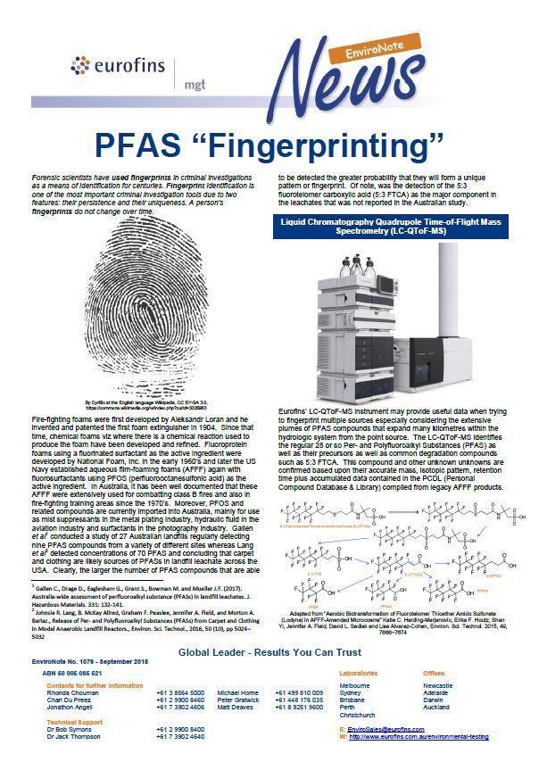 EnviroNote 1079 - PFAS Fingerprinting - Eurofins Scientific