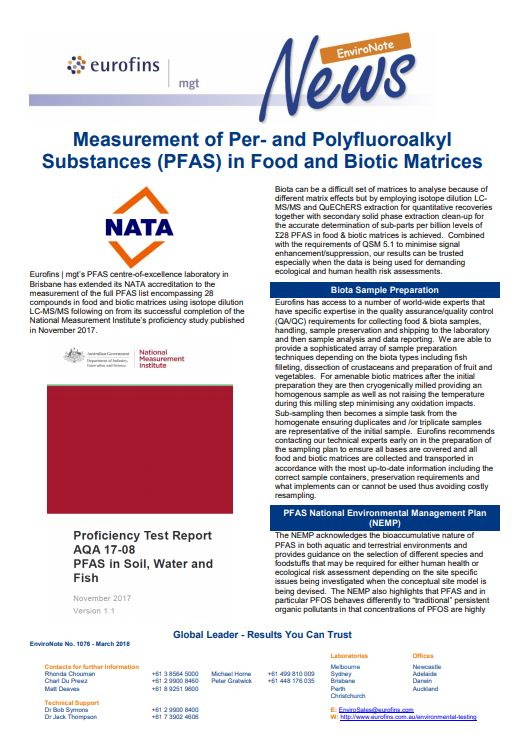 EnviroNote 1076 - PFAS Biota - Eurofins Scientific