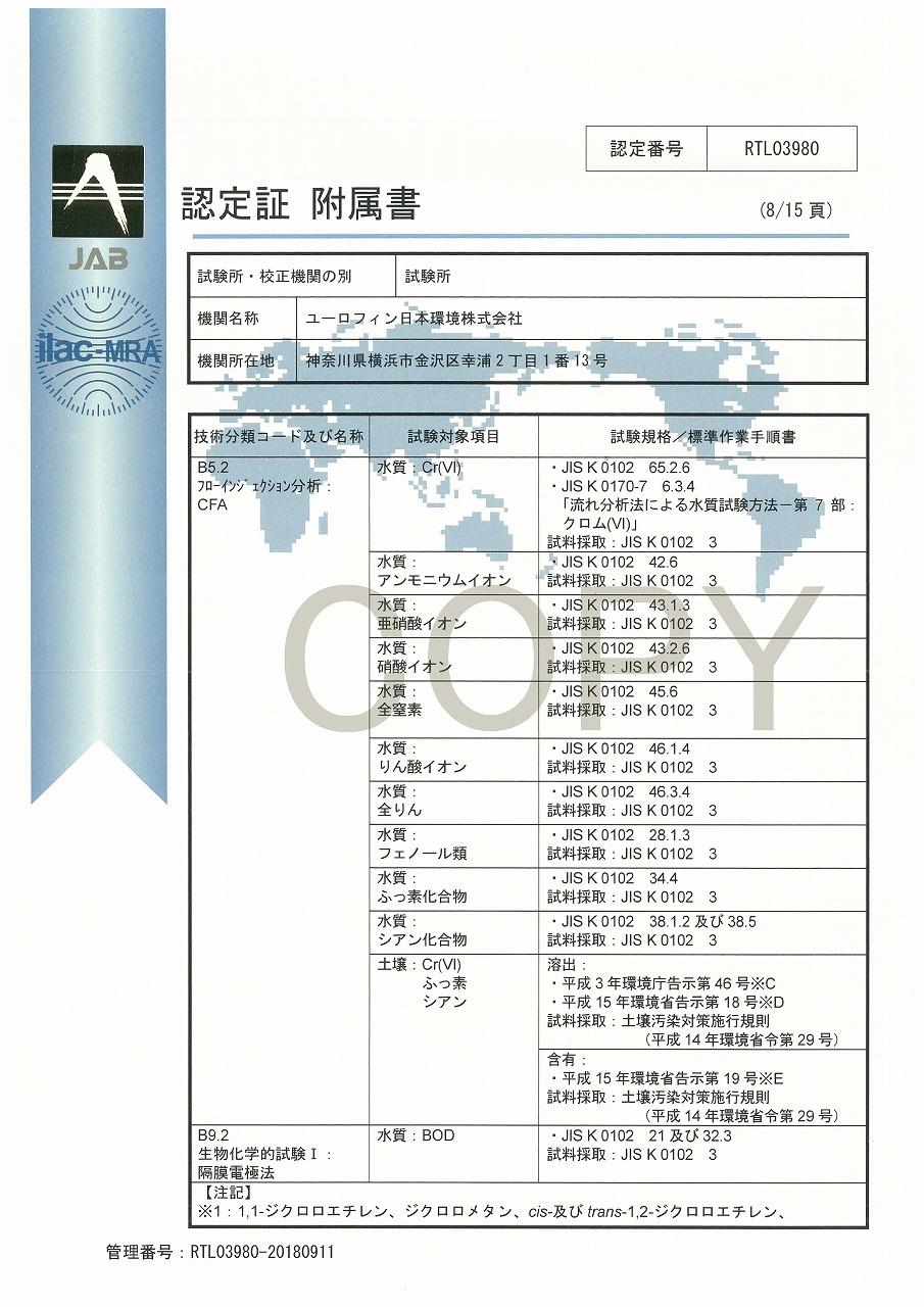 ISO/IEC 17025認定証 09