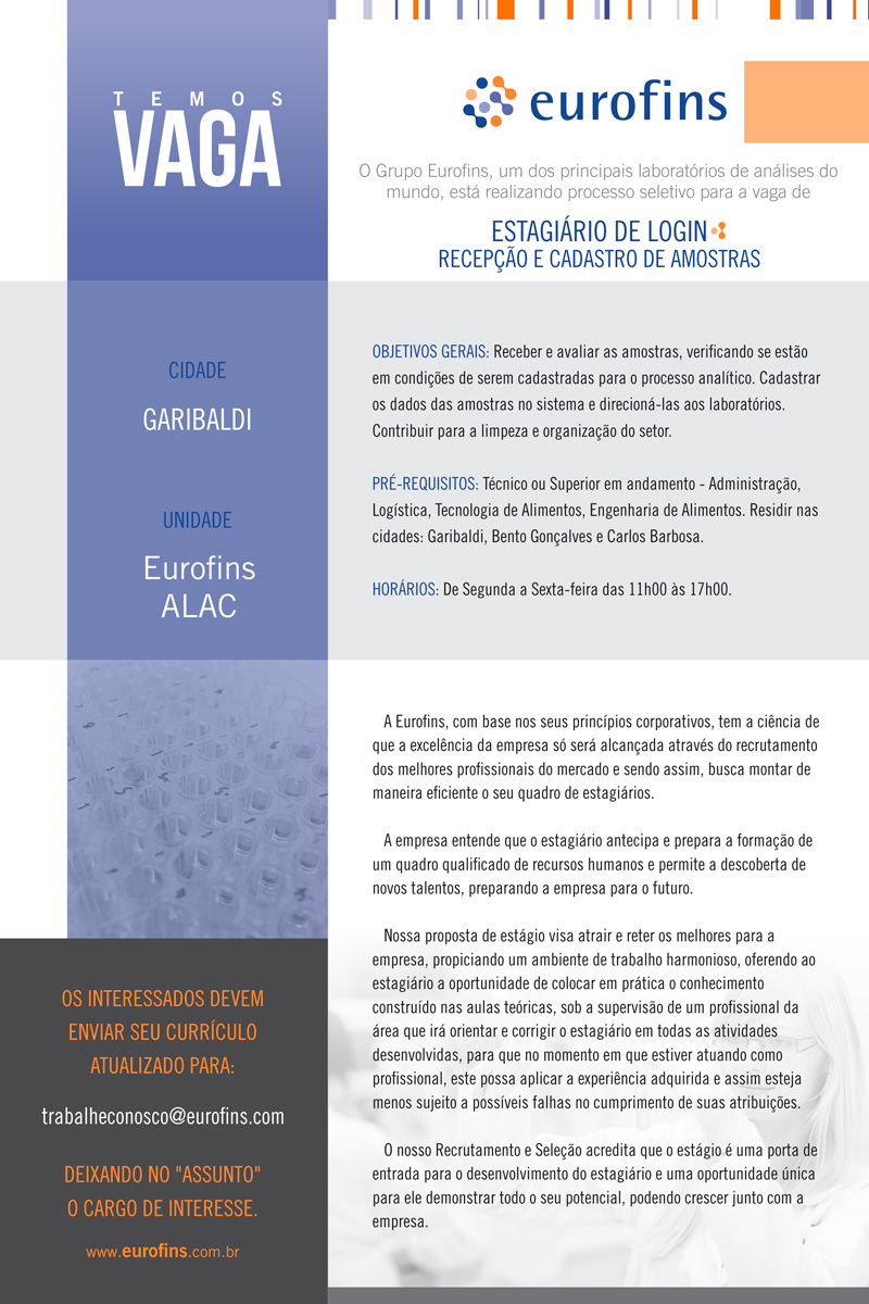 Estagiário de Login: recepção e cadastro de amostras - Garibaldi/RS
