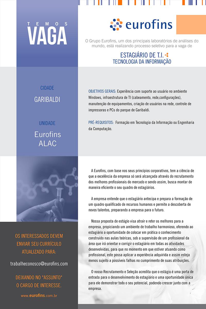 ESTAGIARIO DE TI - Tecnologia da Informação - Garibaldi/RS