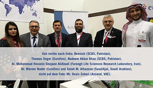 Von rechts nach links: Beenish (SCBS, Pakistan), Thomas Unger (Eurofins), Nadeem Akbar Khan (SCBS, Pakistan), Dr. Mohammad Hossein Shojaee AliAbadi (Faroogh Life Sciences Research Laboratory, Iran), Dr. Werner Nader (Eurofins) und Saleh M. Alhazzaa (SaudiAjal, Saudi Arabien); nicht auf dem Foto: Mr. Ovais Zuberi (Ascend, VAE).