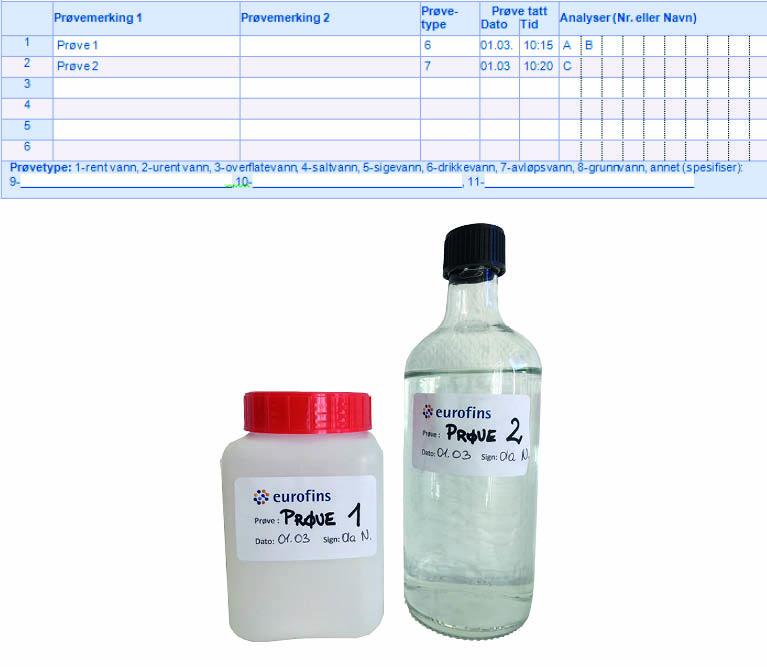 Eksempel på utfylt skjema og prøveflaske