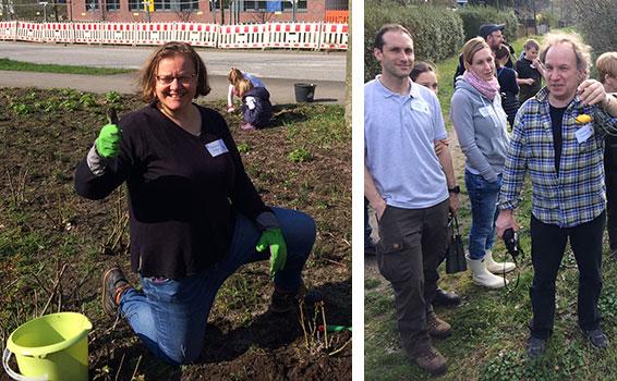 Eurofins Pflanztag mit Rundgang, begleitet vom Naturschutzexperten Frederik Schawaller vom NABU Hamburg Gruppe Süd