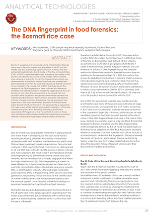 Publikation in Agro FOOD Industry Hi Tech Nov 2019 -  The DNA fingerprint in food forensics: the Basmati rice case