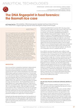 Agro FOOD Industry Hi Tech Nov 2019 -  The DNA fingerprint in food forensics: the Basmati rice case