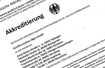 Akkreditierung Eurofins Institut Jaeger