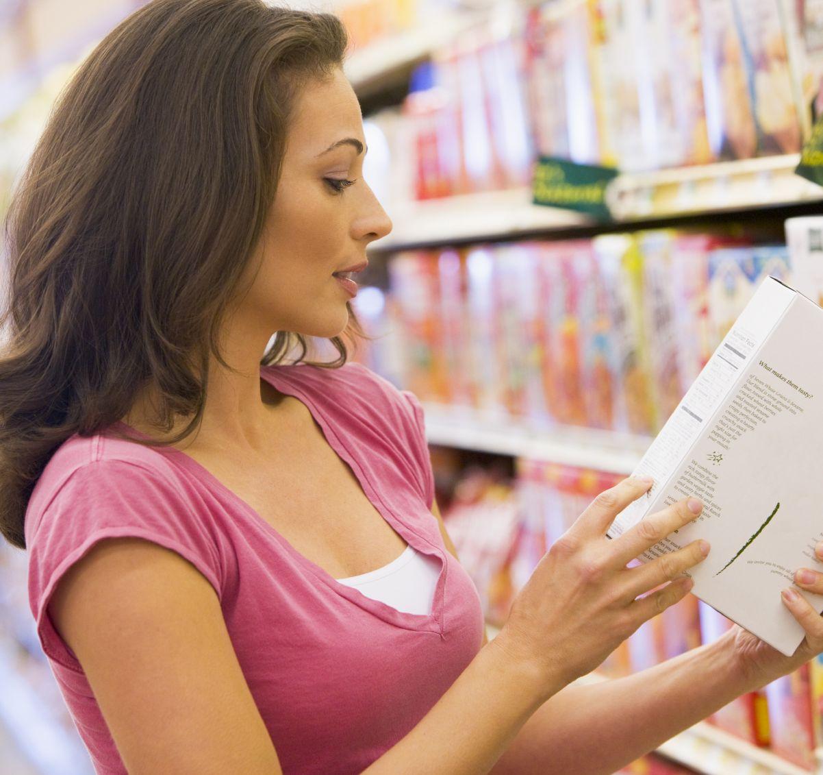 Women reading label