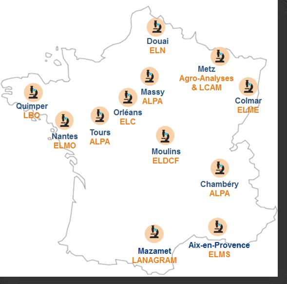 Carte de France laboratoires microbiologie Eurofins