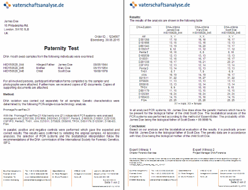 fake dna test results letter DNA Report. How it looks like and what is the content