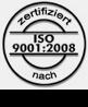 Logo mit ISO 9001:2008 Zertifikatsstempel
