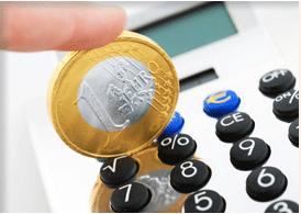 Taschenrechner mit Euro, bezahlen eines Vaterschaftstests